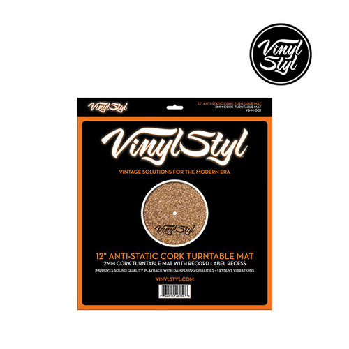 "Vinyl Styl 12"" Anti-Static Cork Turntable Mat 12인치 턴테이블 매트"