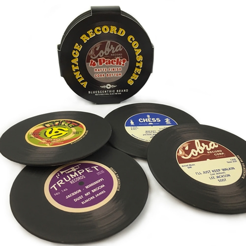 Bluescentric Vintage Record 3.5 Inch Coasters 4-Pack