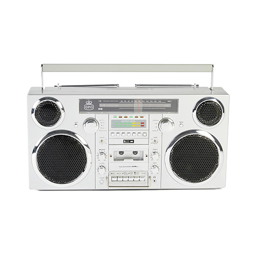GPO Brooklyn Bluetooth Boombox 80W CD Cassette FM USB Recording - Silver